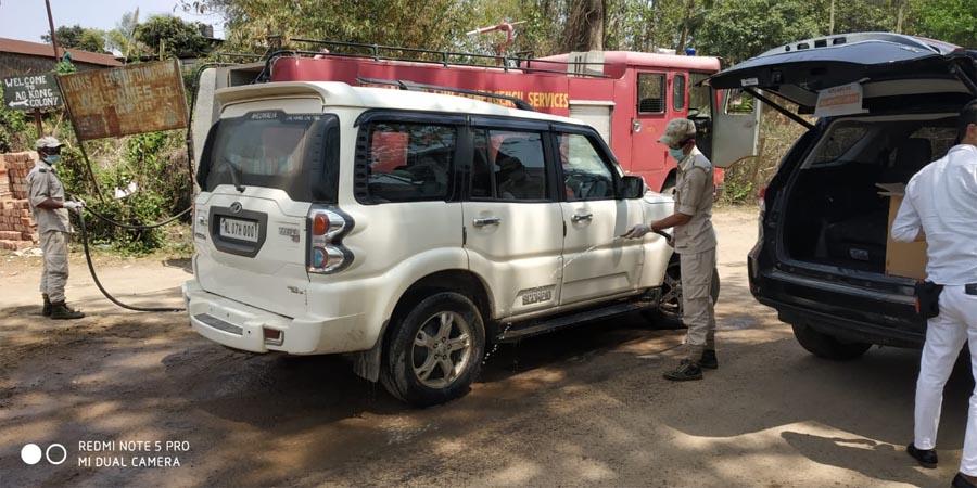 fire dept sanitizing vehicle