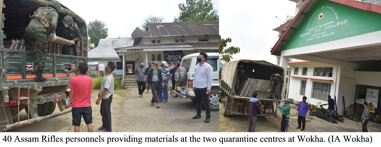 40 Assam Rifles personnels providing materials at quarantine centre Wokha