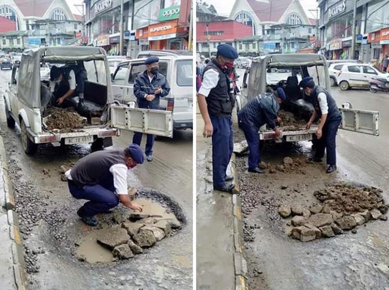 Kohima police potholes