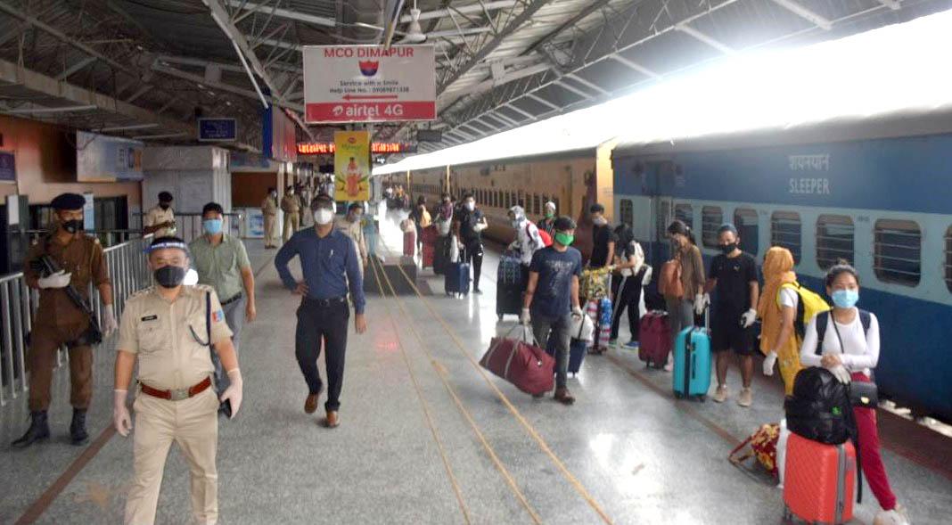 Returnees arrive at Dimapur Railway station on 9.7