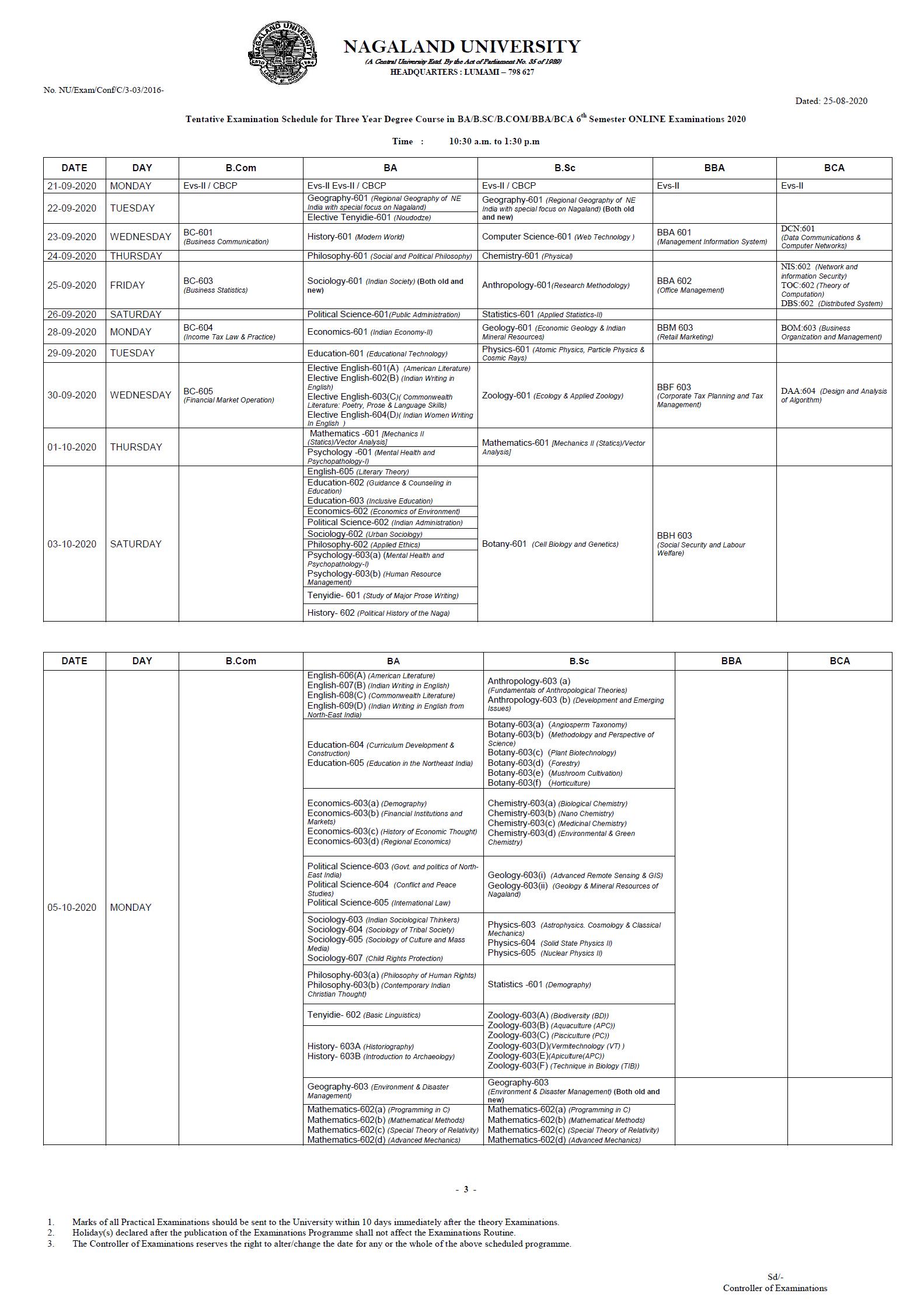 BA BSC exam routine
