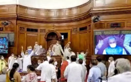Bedlam in RS as it passes 2 key farm bills; book flung at Chair, papers torn