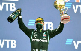 Bottas wins in Russia as penalties dash Hamilton's record bid