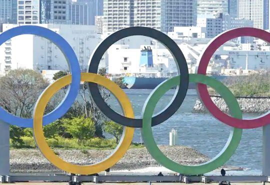 The Olympic rings is seen at Tokyos Odaiba district