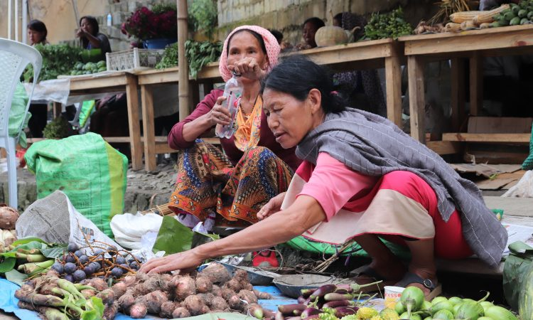 women street vendors selling vegetables at Kohima
