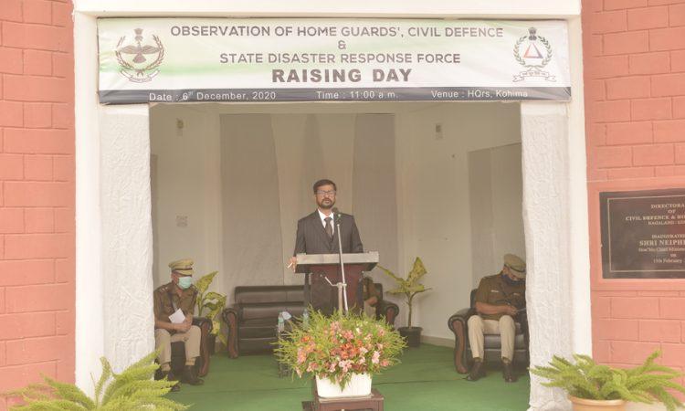 S.R.Saravanam IPS ADG speaking at the Home Guards Civil Defence SDRF