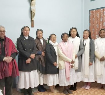 Second from left Fr Raymond DSouza with FSMA in 25 years mission celebration in Khuzama on 1st December 2020