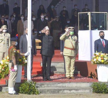 Governor taking salute at Kohima