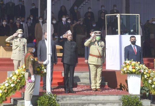 Governor taking salute at Kohima