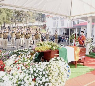 Guard of Honour being accorded to Late Temjen Toy