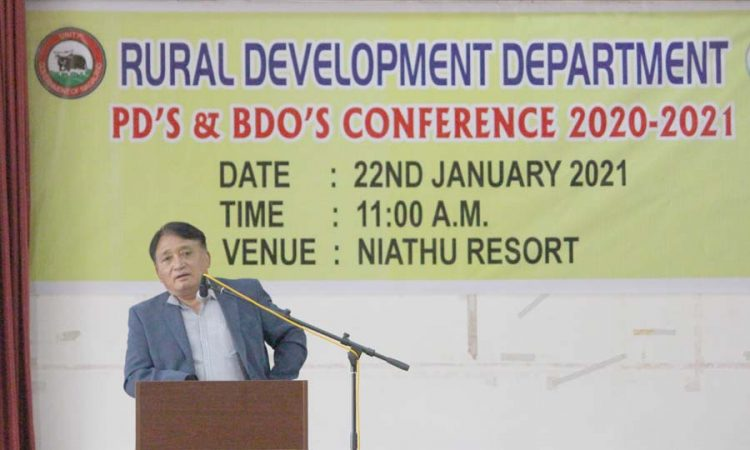 Minister RD Metsubo Jamir addressing the PDs BDOs Conference 2021 at Niathu Resort on 22nd January 2021.
