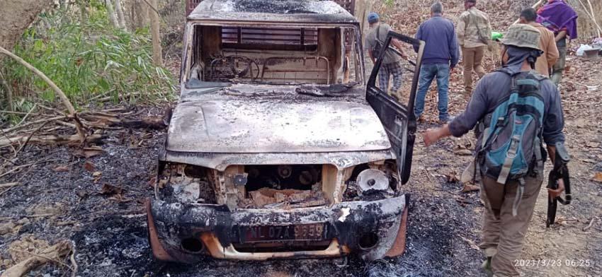 charred vehicle