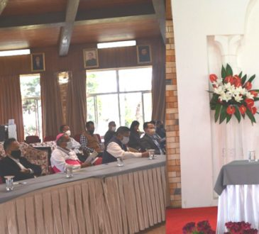 Governor, R.N Ravi interacting with the Church leaders of various denominations of Nagaland on COVID-19 at Dr. Imkongliba Hall on 19th April 2021.