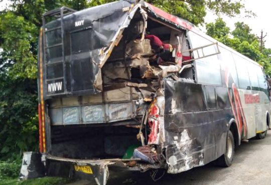 truck hits bus